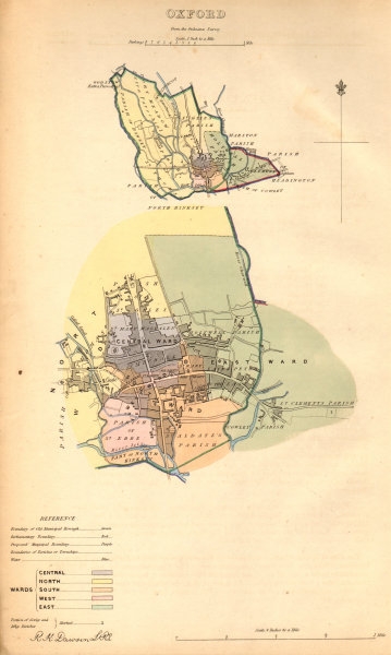 Associate Product OXFORD borough/town/city plan. BOUNDARY COMMISSION. Oxfordshire. DAWSON 1837 map