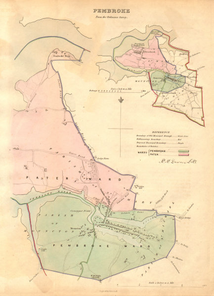 Associate Product PEMBROKE borough/town plan. BOUNDARY COMMISSION. Wales. DAWSON 1837 old map
