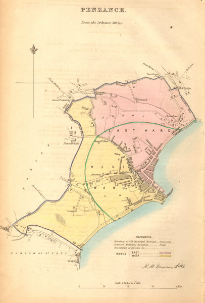 Associate Product PENZANCE borough/town/city plan. BOUNDARY COMMISSION. Cornwall. DAWSON 1837 map