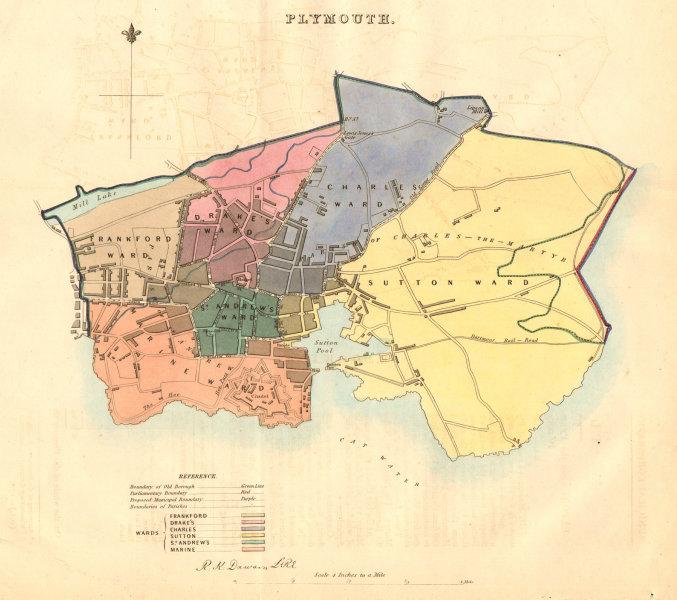 Associate Product PLYMOUTH borough/town/city plan. BOUNDARY COMMISSION. Devon. DAWSON 1837 map