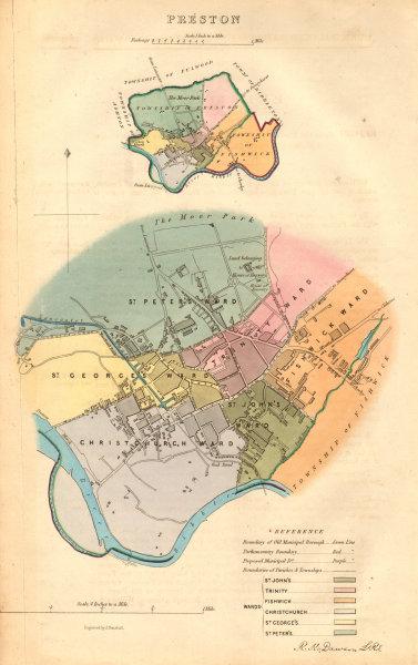 Associate Product PRESTON borough/town plan. BOUNDARY COMMISSION. Lancashire. DAWSON 1837 map