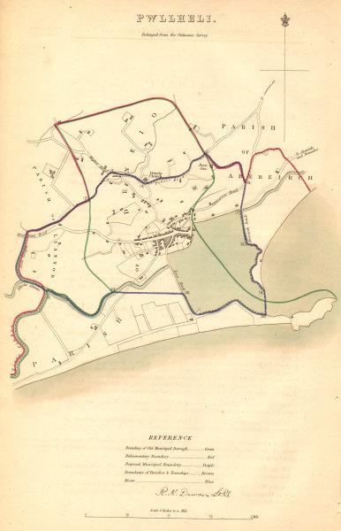 Associate Product PWLLHELI borough/town plan. BOUNDARY COMMISSION. Wales. DAWSON 1837 old map