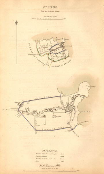 Associate Product ST IVES borough/town plan. BOUNDARY COMMISSION. Cornwall. DAWSON 1837 old map