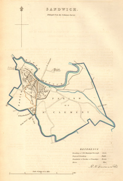 Associate Product SANDWICH borough/town plan. BOUNDARY COMMISSION. Kent. DAWSON 1837 old map