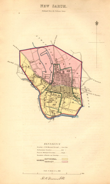 Associate Product SALISBURY borough/town/city plan. New Sarum BOUNDARY COMMISSION. DAWSON 1837 map