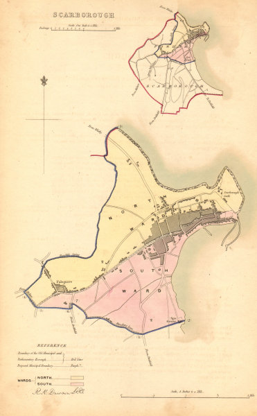 Associate Product SCARBOROUGH borough/town plan. BOUNDARY COMMISSION. Yorkshire. DAWSON 1837 map