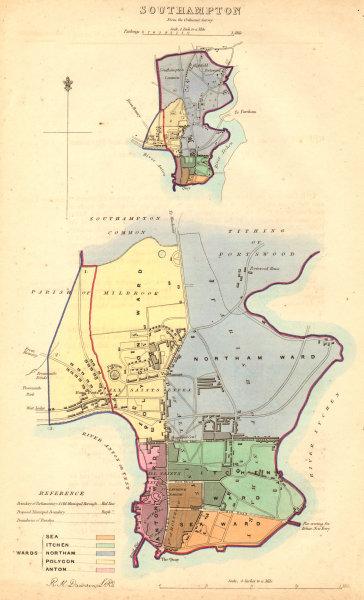 Associate Product SOUTHAMPTON borough/town/city plan BOUNDARY COMMISSION Hampshire DAWSON 1837 map