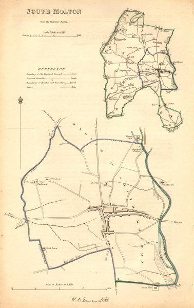 Associate Product SOUTH MOLTON borough/town plan. BOUNDARY COMMISSION. Devon. DAWSON 1837 map