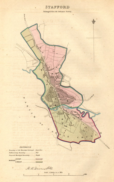 Associate Product STAFFORD borough/town plan. BOUNDARY COMMISSION. Staffordshire. DAWSON 1837 map