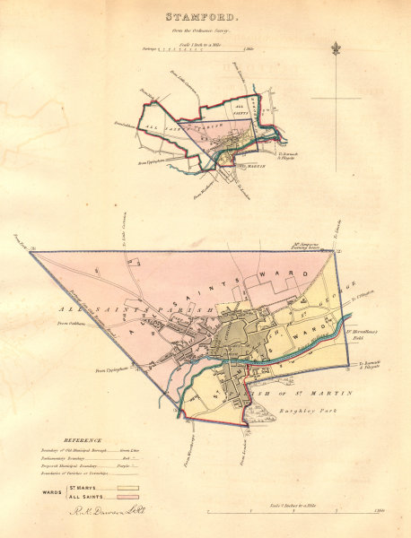 Associate Product STAMFORD borough/town plan. BOUNDARY COMMISSION. Lincolnshire. DAWSON 1837 map