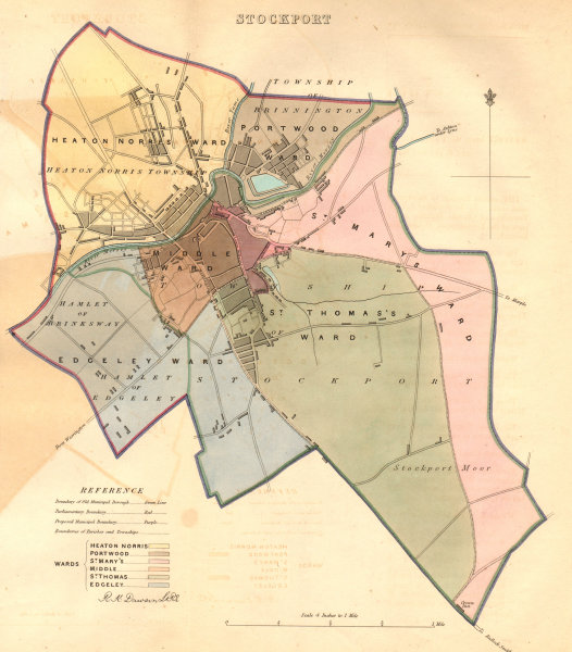 Associate Product STOCKPORT borough/town plan. BOUNDARY COMMISSION. Manchester. DAWSON 1837 map