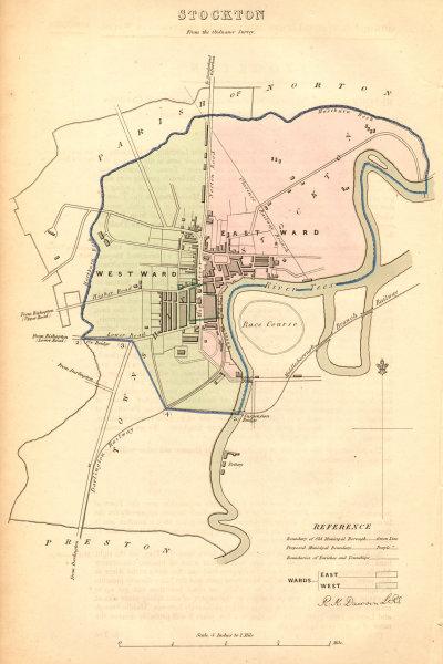 Associate Product STOCKTON borough/town plan. BOUNDARY COMMISSION. Durham. DAWSON 1837 old map