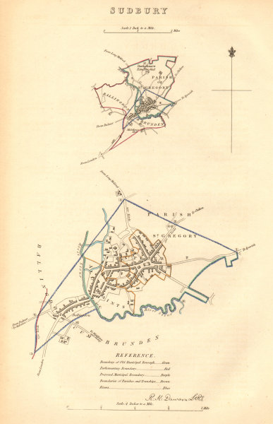 Associate Product SUDBURY borough/town plan BOUNDARY COMMISSION. Suffolk. DAWSON 1837 old map