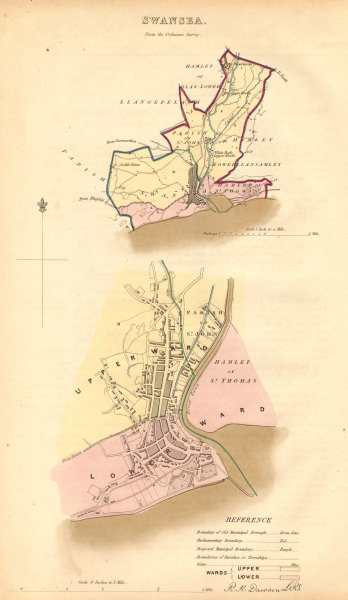 Associate Product SWANSEA borough/town/city plan. BOUNDARY COMMISSION. Wales. DAWSON 1837 map