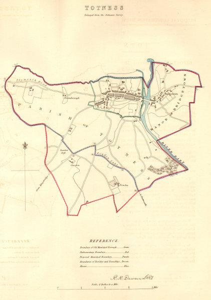 Associate Product TOTNES borough/town plan. 'Totness'. BOUNDARY COMMISSION. Devon. DAWSON 1837 map