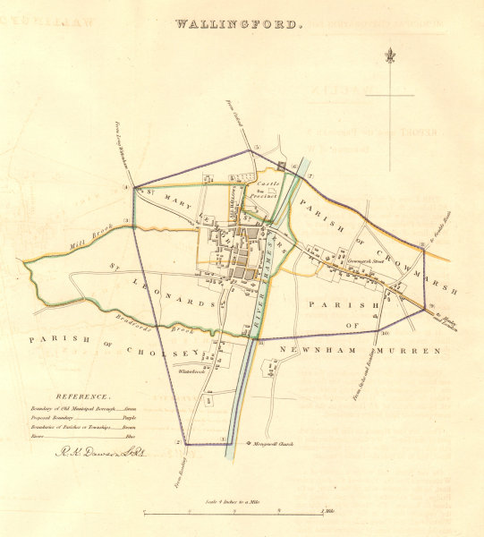 Associate Product WALLINGFORD borough/town plan. BOUNDARY COMMISSION. Oxfordshire. DAWSON 1837 map
