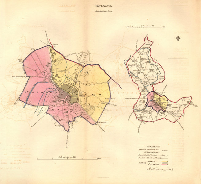 Associate Product WALSALL borough/town/city plan. BOUNDARY COMMISSION. Staffs. DAWSON 1837 map