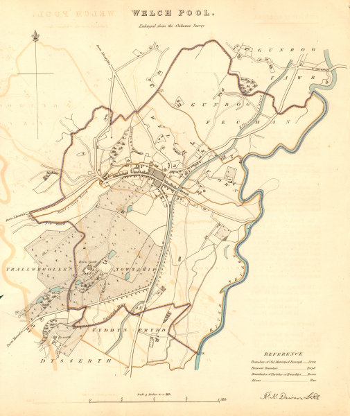 Associate Product WELSHPOOL borough/town plan. 'Welchpool'. BOUNDARY COMMISSION. DAWSON 1837 map