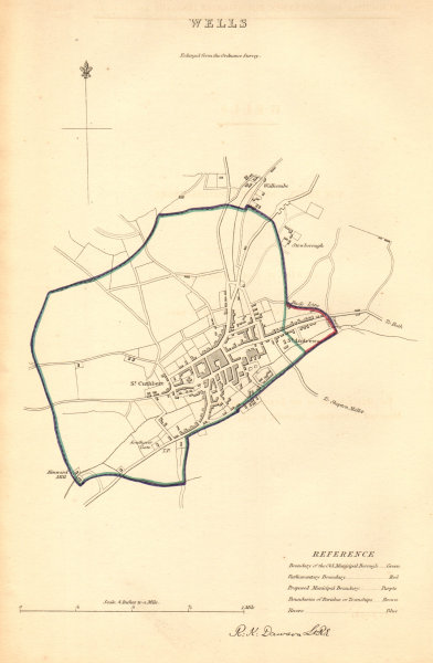 Associate Product WELLS borough/town plan. BOUNDARY COMMISSION. Somerset. DAWSON 1837 old map