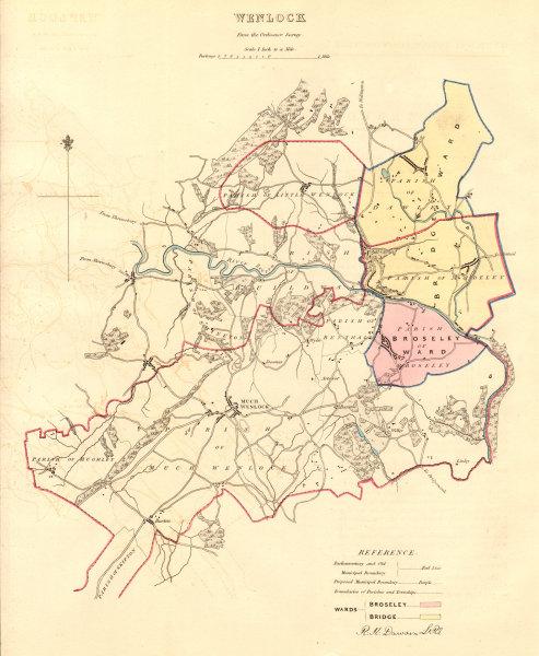 MUCH WENLOCK borough/town plan. BOUNDARY COMMISSION. Shropshire. DAWSON 1837 map