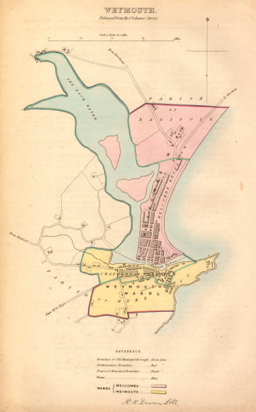Associate Product WEYMOUTH borough/town plan. BOUNDARY COMMISSION. Dorset. DAWSON 1837 old map