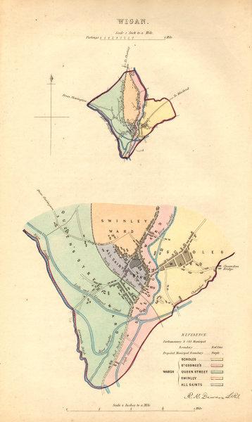 Associate Product WIGAN borough/town plan. BOUNDARY COMMISSION. Lancashire. DAWSON 1837 old map