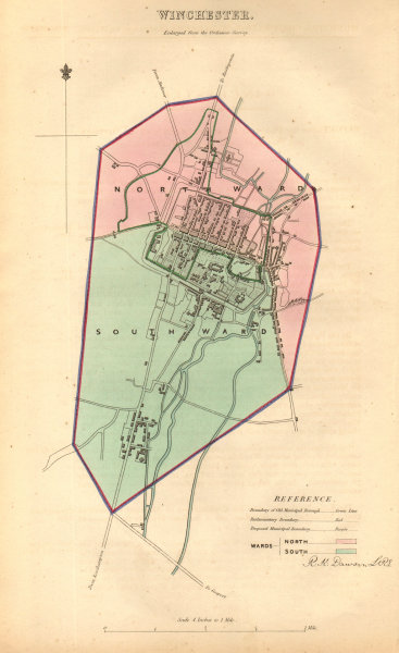 Associate Product WINCHESTER borough/town/city plan. BOUNDARY COMMISSION Hampshire DAWSON 1837 map