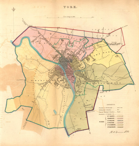 Associate Product YORK borough/town/city plan. BOUNDARY COMMISSION. Yorkshire. DAWSON 1837 map