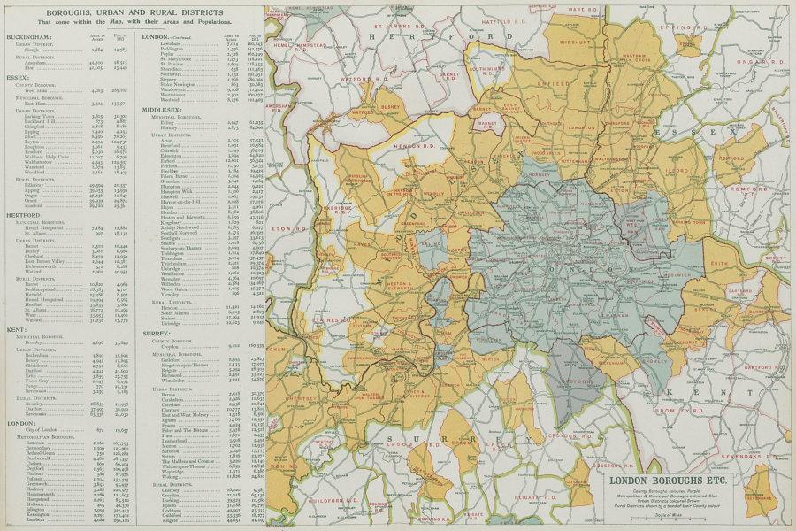 LONDON showing Municipal Boroughs, Urban Districts & Rural areas. BACON 1913 map