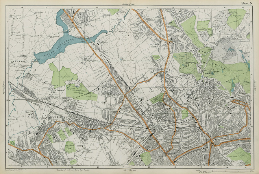 HAMPSTEAD WILLESDEN Cricklewood Golders Green Kilburn Belsize Pk BACON  1913 map