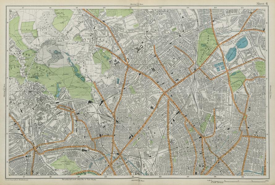 HAMPSTEAD ISLINGTON Camden Highgate Finsbury Park Primrose Hill. BACON  1913 map