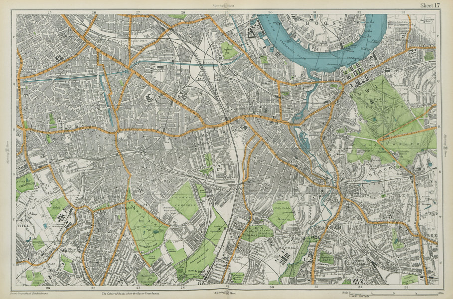 LONDON SOUTH Camberwell Greenwich Deptford Lewisham Southwark. BACON  1913 map