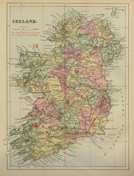 IRELAND antique index map by GW BACON 1883 old vintage plan chart