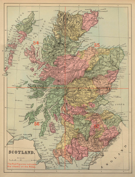 SCOTLAND antique index map by GW BACON 1883 old vintage plan chart