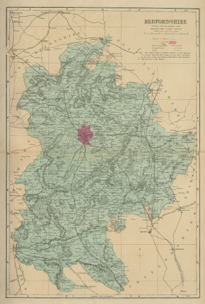 BEDFORDSHIRE antique county map by GW BACON 1883 old plan chart