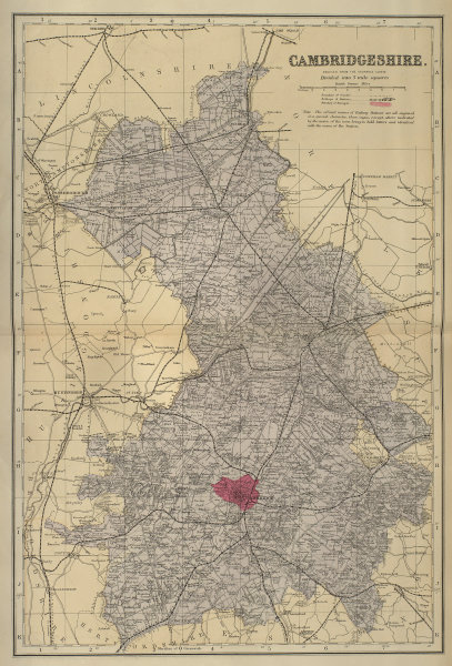 CAMBRIDGESHIRE antique county map by GW BACON 1883 old plan chart
