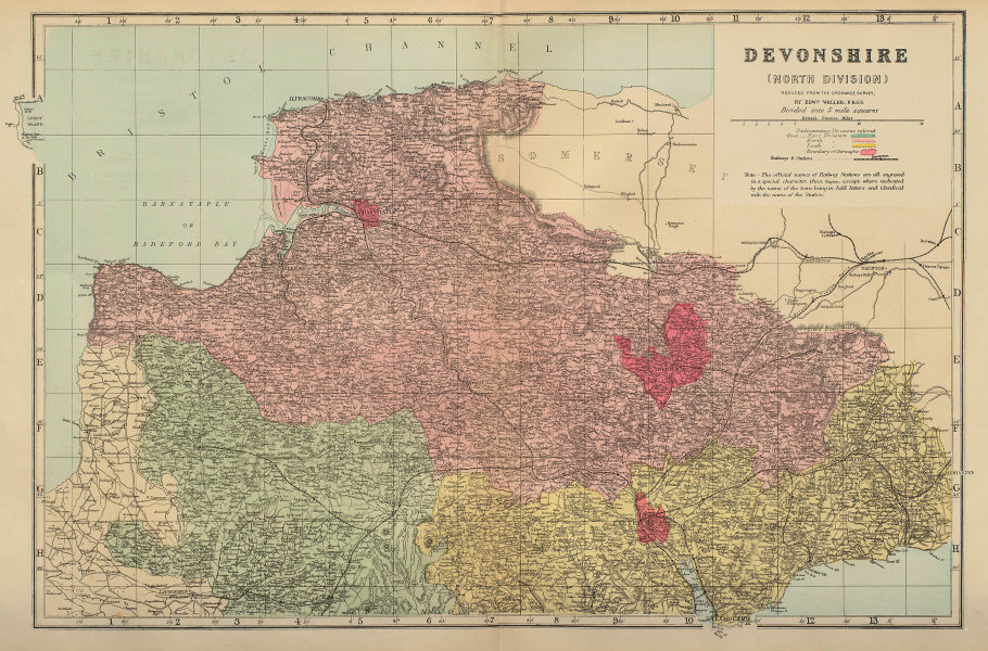 DEVON (North) antique county map by GW BACON 1883 old plan chart