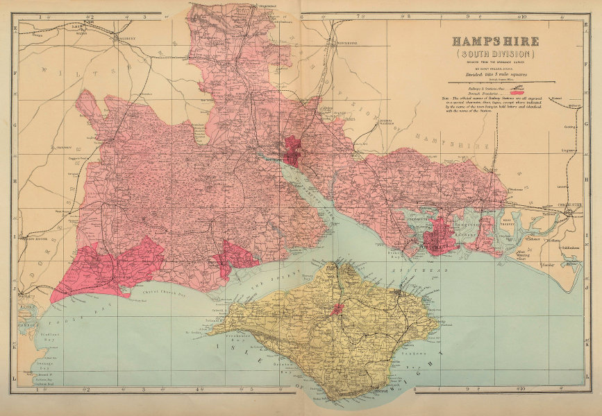 HAMPSHIRE (South) antique county map by GW BACON 1883 old chart