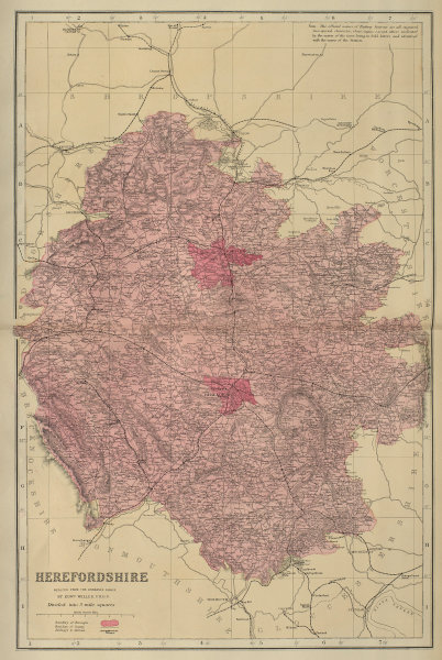 HEREFORDSHIRE antique county map by GW BACON 1883 old plan chart