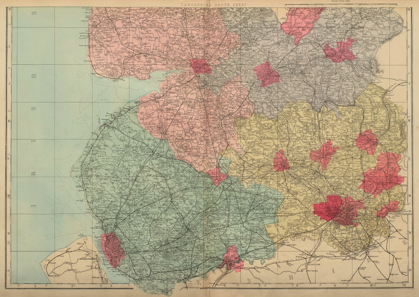 LANCASHIRE (South sheet) antique county map by GW BACON 1883 old