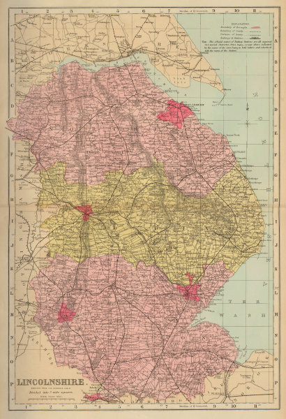 LINCOLNSHIRE antique county map by GW BACON 1883 old plan chart