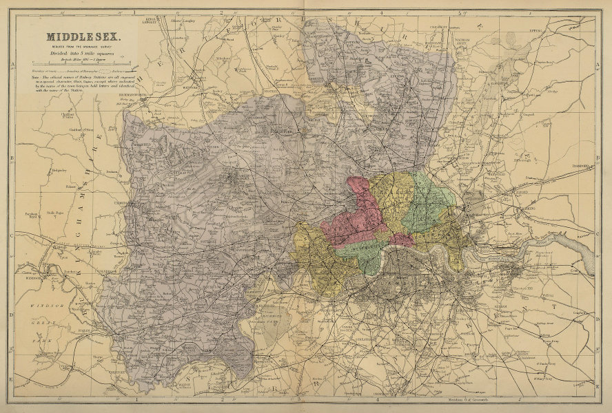 MIDDLESEX antique county map by GW BACON 1883 old plan chart