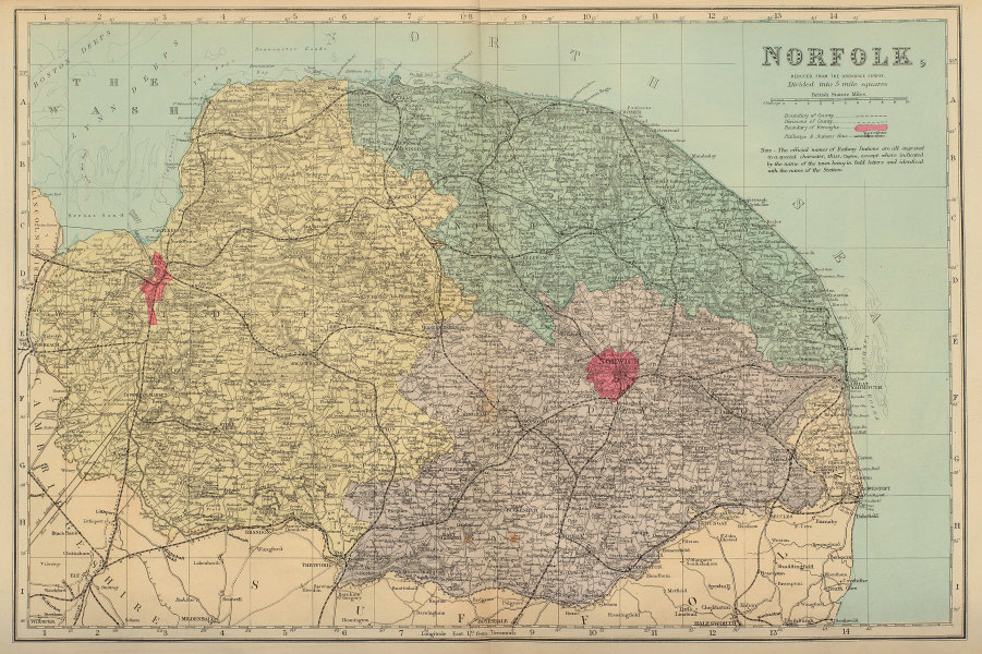 NORFOLK antique county map by GW BACON 1883 old vintage plan chart