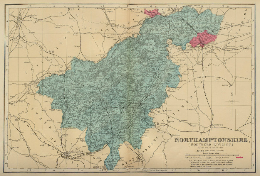 NORTHAMPTONSHIRE (North) antique county map by GW BACON 1883 old