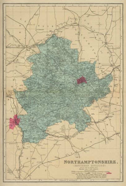 NORTHAMPTONSHIRE (South) antique county map by GW BACON 1883 old