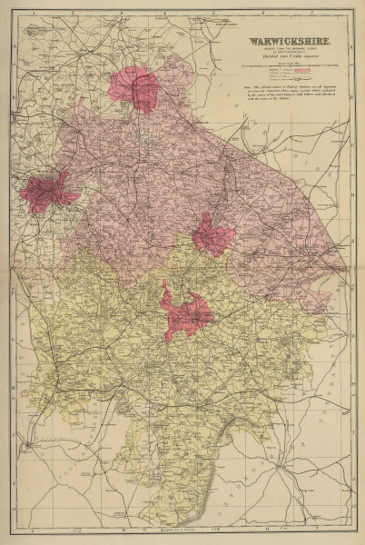 WARWICKSHIRE antique county map by GW BACON 1883 old plan chart