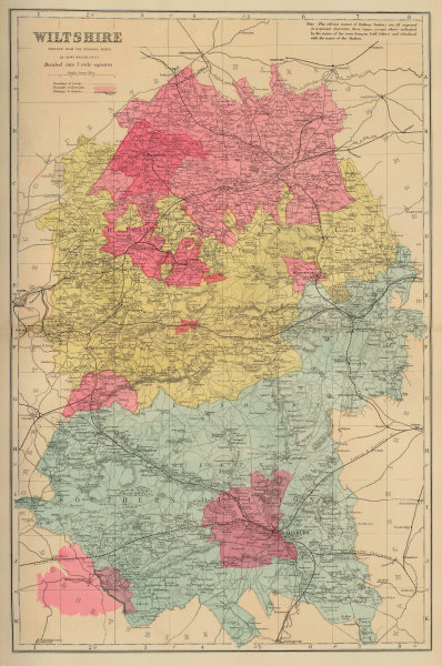 WILTSHIRE antique county map by GW BACON 1883 old plan chart