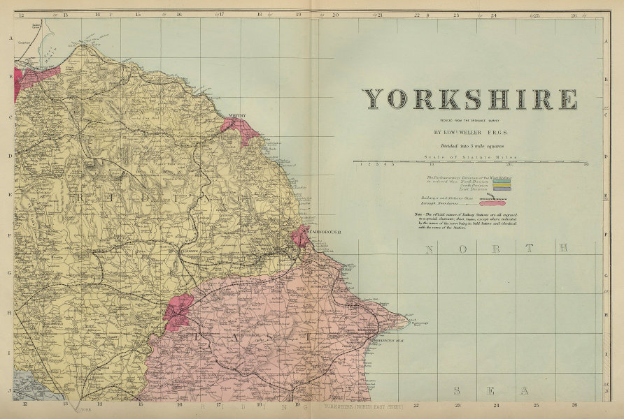 YORKSHIRE (North East) Scarborough Whitby antique county map by GW BACON 1883