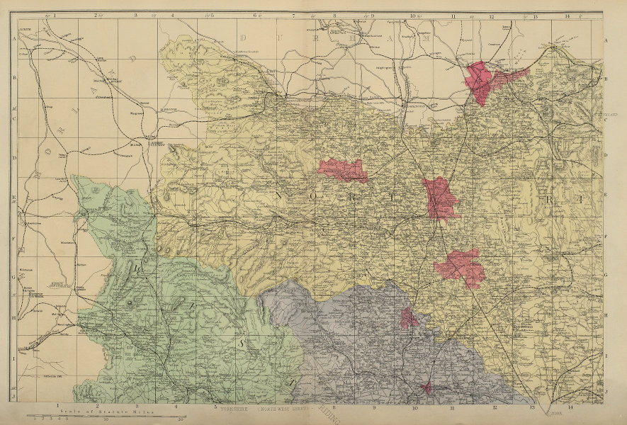 YORKSHIRE (North West) Middlesborough Northallerton county map GW BACON 1883