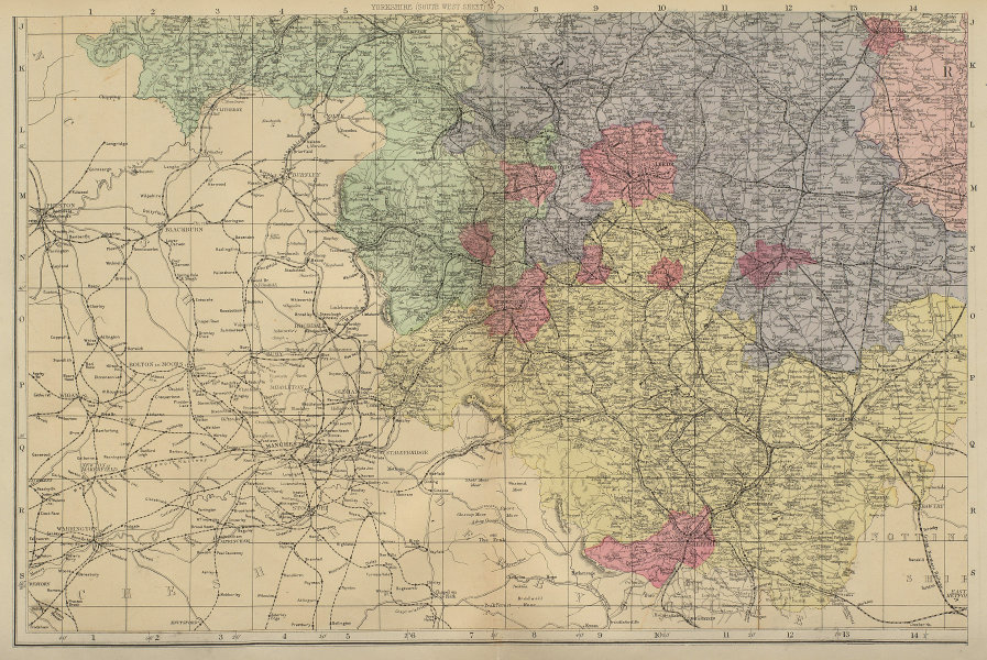 YORKSHIRE (South West) Sheffield Leeds Bradford county map GW BACON 1883